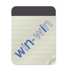 win-win lettering on notebook template vector image vector image