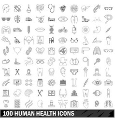 100 human health icons set outline style vector