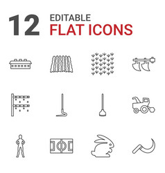 12 field icons vector