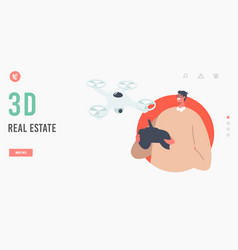 3d real estate landing page template male vector