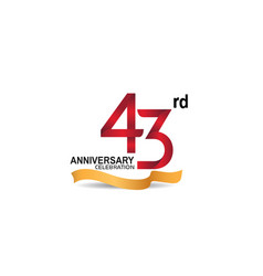 43 anniversary design logotype red color vector