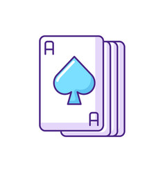 Ace cards rgb color icon vector