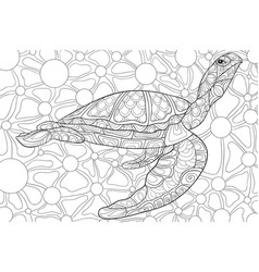 adult coloring bookpage a cute turtle image for vector image
