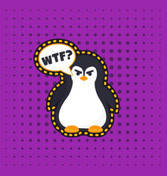 Angry pinguin sticker vector