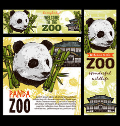 animal zoo panda pagoda bamboo leaves vector image