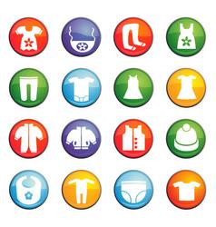 Baby clothes icon set vector