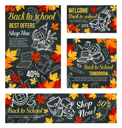 Back to school sale blackboard poster vector