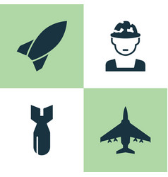 battle icons set collection of military rocket vector image