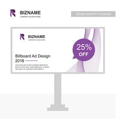 billboared ad design with company with r logo and vector image