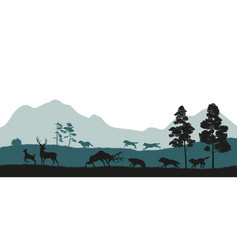 black silhouettes forest animals vector image
