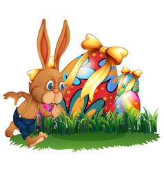 brown bunny and easter eggs vector image