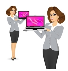 business woman holding laptop vector image