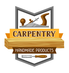 Carpentry label with jointer and saw emblem for vector