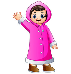 Cartoon girl in pink winter jacket waving vector