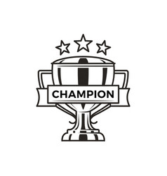 champion trophy with stars monochrome logotype vector image
