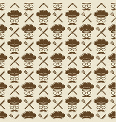 chef seamless pattern design - kitchen seamless vector image