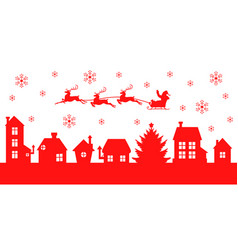 christmas banner with santa claus flying over the vector image