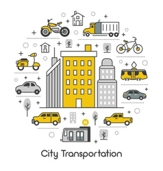 City Transportation Line Art Thin Icons Set vector image