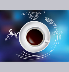 coffee cup concept - hot coffee mug with space and vector image