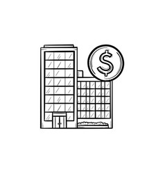 Corporate business buildings hand drawn outline vector