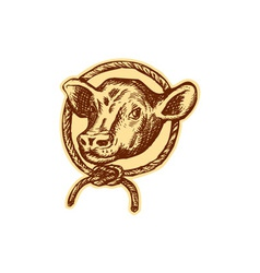 Cow Bull Head Rope Circle Etching vector