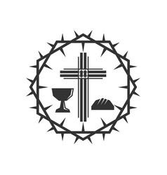 Cross jesus christ chalice vector