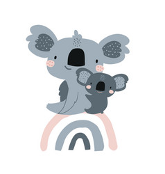 Cute koala mom baby on rainbow in scandinavian vector