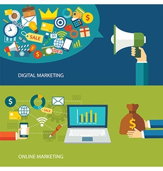 digital marketing and online marketing flat design vector image vector image