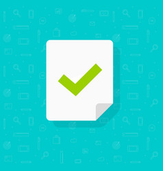 document page with checkmark or tick icon vector image
