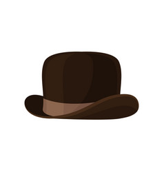 elegant brown bowler hat vintage male headwear vector image