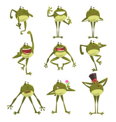 emotional green funny frog amfibian animal vector image
