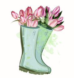 fashion spring with green rubber boots and tulips vector image
