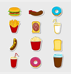 fast food cartoon stickers vector image