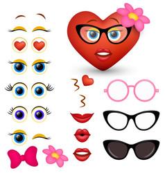 feminine red heart emoji maker emoticon vector image