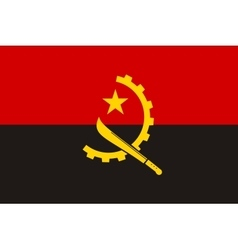 Flag of Angola in correct proportions and colors vector
