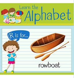 Flashcard letter R is for rowboat vector image