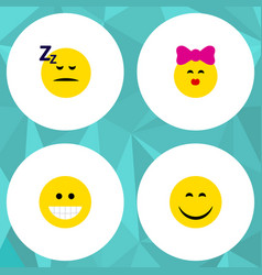 Flat icon gesture set of grin caress asleep and vector