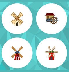Flat icon mill set of propeller wheel windmill vector