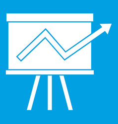 Flip chart with statistics icon white vector