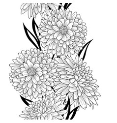 floral tile pattern flower chrysanthemum line art vector image
