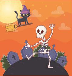 flying cat and dancing skeleton gravestones vector image