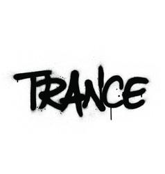 graffiti trance word sprayed in black over white vector image