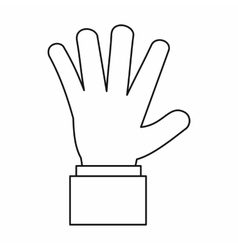 Hand showing five fingers icon outline style vector image