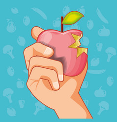 hand with apple fresh healthy food vector image