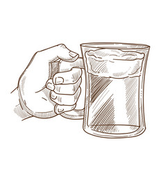 Hands holding drink glass sketch icon of vector