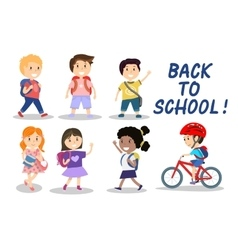 Happy school kids on white background vector image