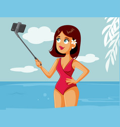 happy summer girl taking a selfie on vacation vector image