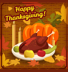happy thanksgiving card festive dinner turkey vector image