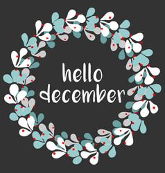 Hello december wreath vector