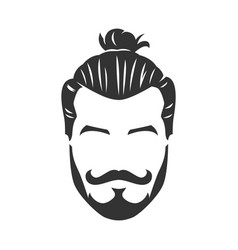 Hipster man bearded face with bun black and white vector
